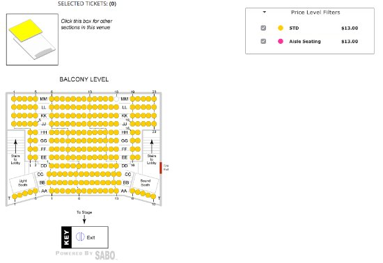 Cocoa, FL: Balcony Level seating chart, there are no elevators available in this venue.