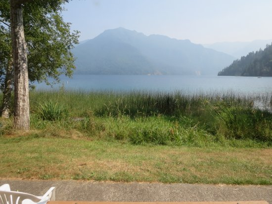 View from back window facing lake crescent log for Log cabin resort lago crescent wa