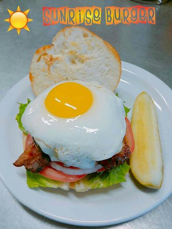 New London, CT: Sunrise Cafe special The delicious sunrise burger. — feeling happy at Sunrise Cafe.