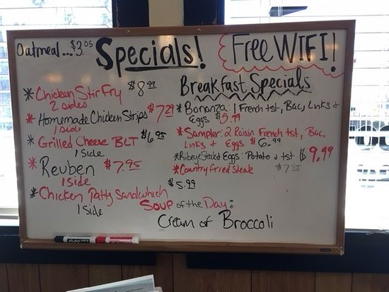 Mount Morris, IL: The Specials board when we were there
