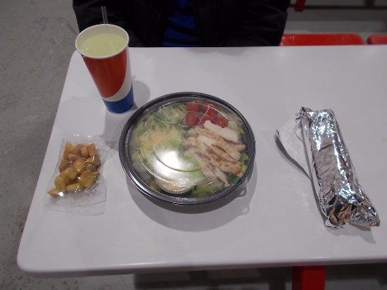 Costco Food Court  Chicken Caesar Salad, Hot Dog, Soft Drink