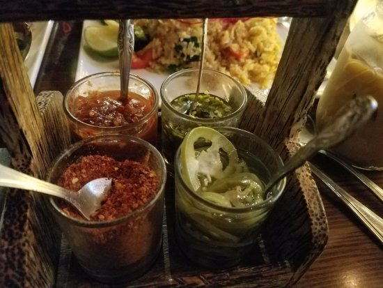 Rockville Centre, NY: Condiments...spicy stuff to compliment your entrees! Ask for it!