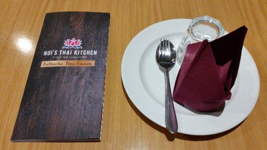 Traralgon, Australia: Table setting with menu
