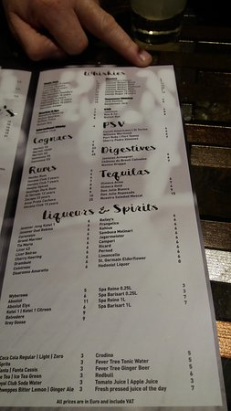 Hilton The Hague: sparks bar drinks menu