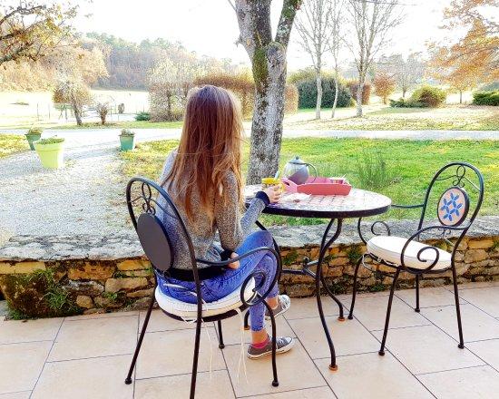Saint-André-d'Allas, Francia: Tea Time sur la terrasse des Filolies