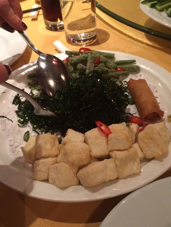 Imperial China: Vegetarian dish . Spring roll, seaweed, crspy asparagas with tofu squares( I think)