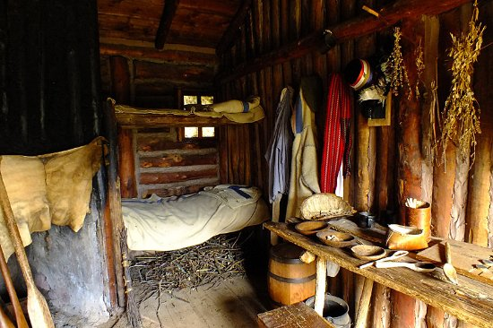Pine City, MN: Voyageur acommodations as it was in the fur trade fort.