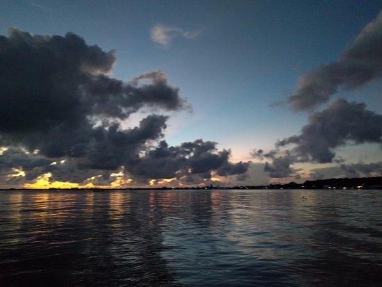 Utila, Honduras: Sunset from the dock