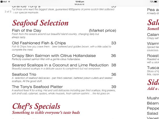 Tony's Steak & Seafood Restaurant & Bar: Menu extract