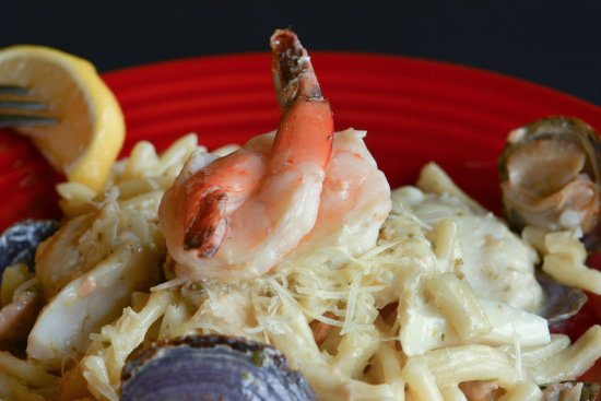 Tualatin, OR: Seafood Casarecce with cod, salmon, shrimp, clams, garlic caper cream sauce, parmesan