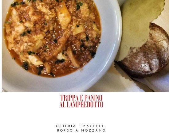 Borgo a Mozzano, Italie : Trippa e panino al lampredotto