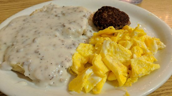 Greeneville, TN: The $3.99 breakfast special. Eggs, biscuits and gravy and sausage!  You can get bacon and toast