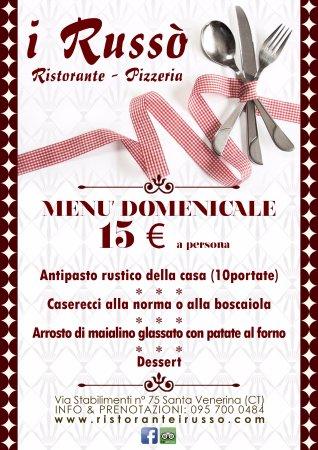 Santa Venerina, Ιταλία: Menù domenicale