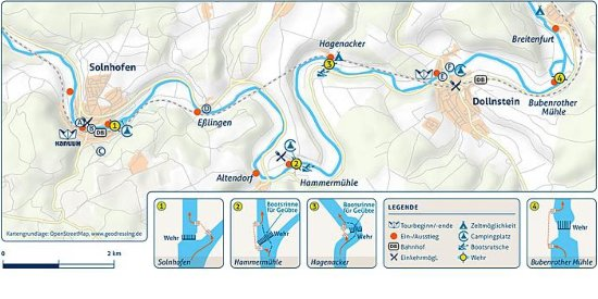 Flusskarte Altmühl ab Solnhofen bis Dollnstein