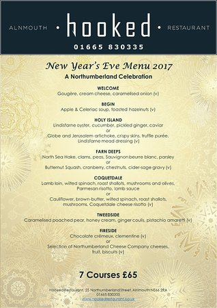 Hooked Restaurant: New Year's Eve menu