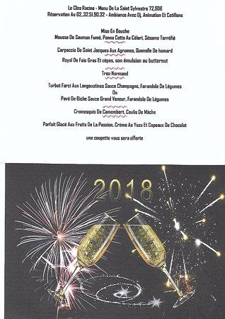 Restaurant Le Clos Racine: menu du 31/12 au soir
