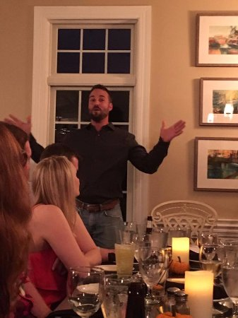 Ludlow, VT: My husband giving a toast at Harry's for 50 of our friends and family
