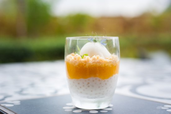 Junction: Coconut sago, mango gel, coconut sand and lemon sorbet