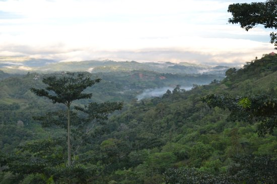 San Vito, Costa Rica: View from our room. The Talamanca Mountains are behind the clouds in the distance.
