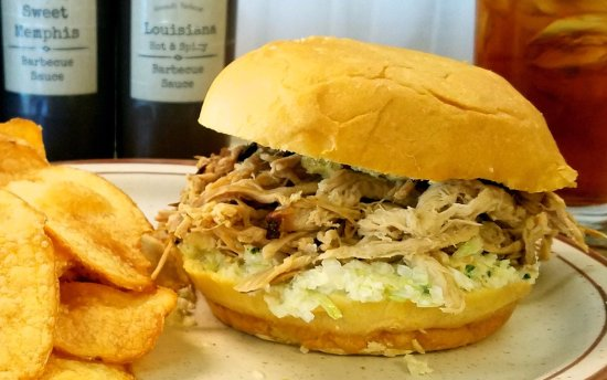 Lillington, NC: Pulled BBQ Pork Sandwich topped with homemade coleslaw