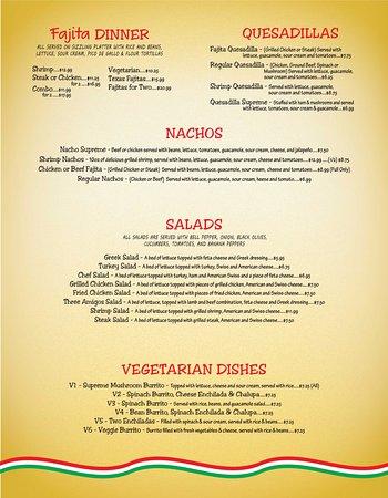 Three Amigos Mexican Restaurant Alabaster menu