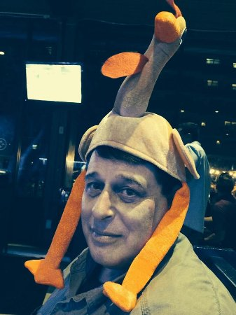 Seaside Grill: Me wearing my turkey hat for Thanksgiving dinner.....