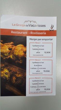Vacarisses, Spain: VARIOS MENUS