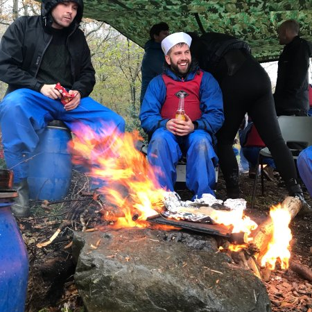 Coniston, UK: Stag party weekend near Windermere in the Lake District Cumbria canoeing and bushcraft by the la