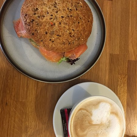Cafe Ørstrup: Huge and delicious sandwich accompanied by a wonderful coffee