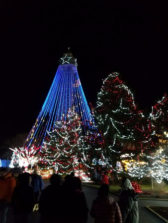 kings island eiffel tower turns into a christmas tree during winter fest
