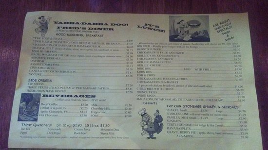 Flintstone's Bedrock City: Fred's Diner Menu