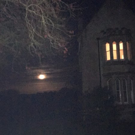Beautiful moonlit night from the back of Little Langford Farmhouse.