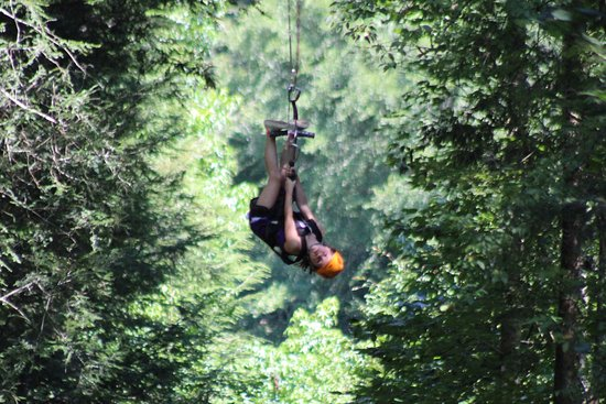 Foxfire Mountain Adventures : Last line of the waterfall zip line tour. Highest line on this course is 200' in the air!