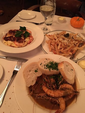 Mr. B's Bistro: Truffle Fries, BBQ Shrimp, Shrimp & Grits