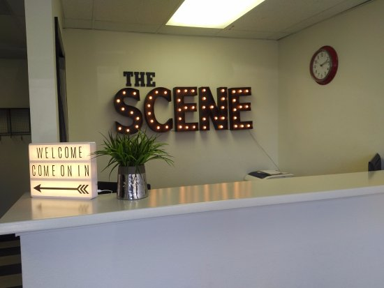 Reception counter at The Scene Escape Rooms in Lake Forest, CA