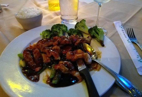 Manalapan, FL: Teryaki shrimp, white rice.
