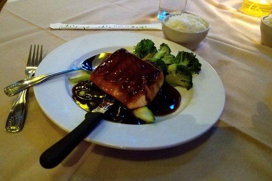 Manalapan, FL: Teryaki salmon, white rice.