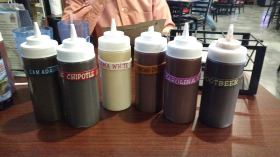 Lake Zurich, IL: The array of BBQ sauces on your table