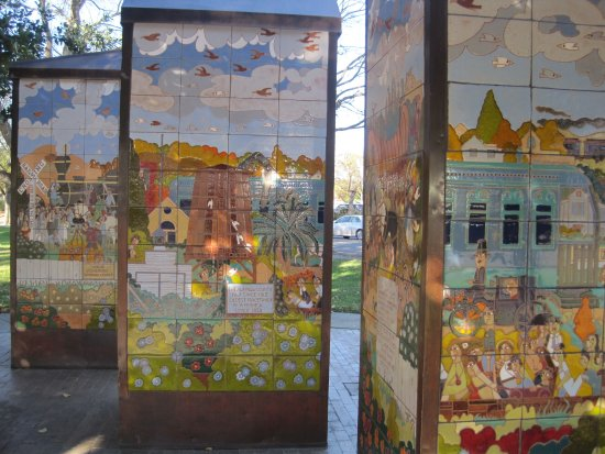 Pleasanton, CA: One view of the three towers of tile images.