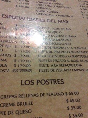 Tostado's Grill: menu