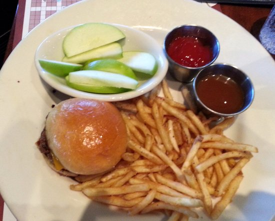 Claim Jumper Restaurants: kids cheeseburger with French fries & catsup, and apple slices with caramel sauce