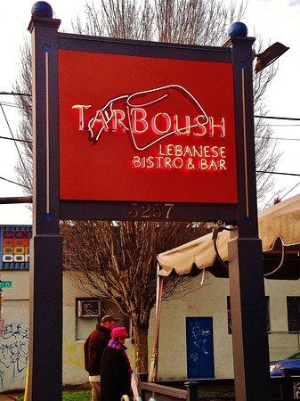 TarBoush Lebanese Bistro & Bar: the sign on the sidewalk near the building