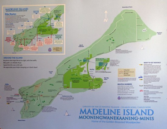 Apostle Islands, WI : The map of Madeline Island