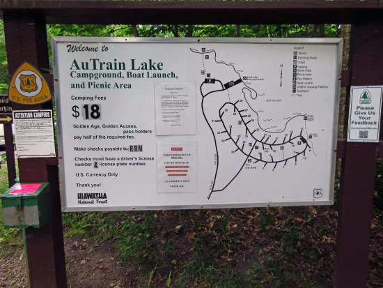 Au Train Lake Campground-self-service pay station & campground map