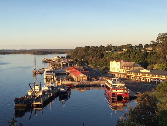 Strahan Village: View of Strahan waterfront from balcony.