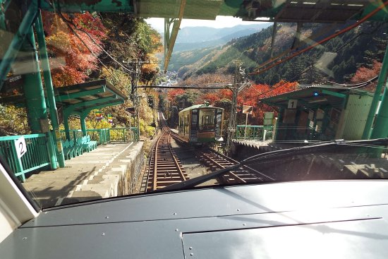 Isehara, Japan: 途中の大山寺駅で上りと下りがすれ違う。