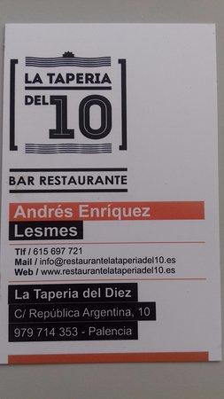 La Taperia: Tarjeta