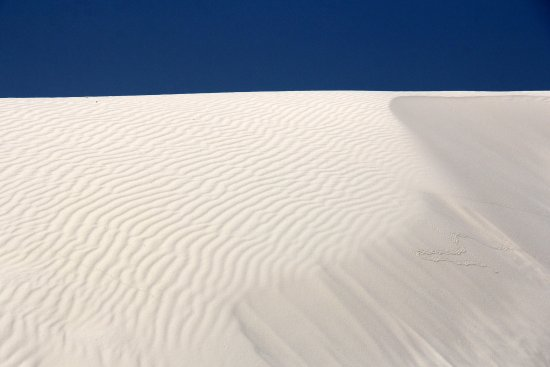 White Sands National Monument: Bright bue sky and white sand