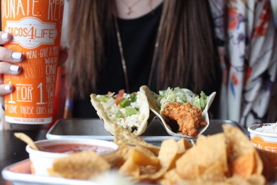 Tacos 4 Life: Fried Chicken Taco, Salsa and a classic beef