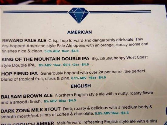 Waynesville, Karolina Północna: Beer menu.